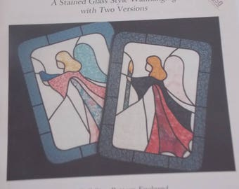 QUILT Wallhanging Stained Glass style Angel Breeze Sew Pattern Uncut finished size 23 x 30.5 inches