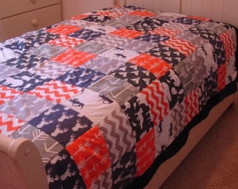 Wilderness Navy Gray Orange Minky Blanket You Choose Size MADE TO ORDER No Batting