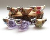 6 birds  artisan lampwork glass beads bubbles frit white ivory purple pink glass