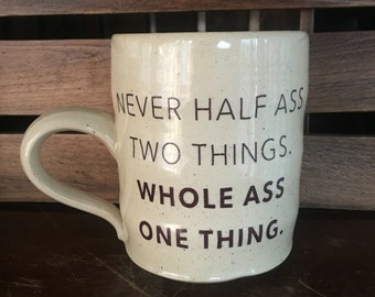 Durable White Stoneware Ron Swanson Quote Mug