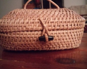 vintage wicker box purse