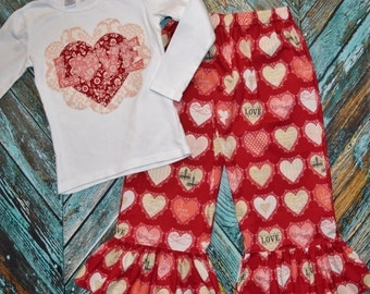 """Girls SZ. 6 Valentines Day """"VINTAGE LOVE""""  HEaRTs tee shirt and Bella ruffle pant set  * SaMPLe SaLE *"""