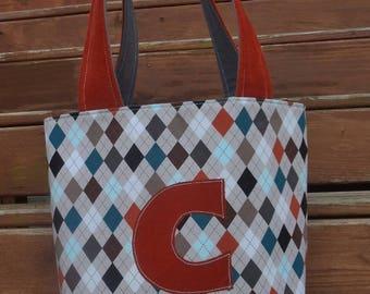 "SAmPLE SaLE * ""C"" Personalized boys medium tote bag with mustache applique in grey / orange / blue argyle / corduroy"