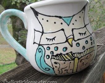 Owl mug book lovers pottery mug cup owl wearing glasses reading teacher librarian owl