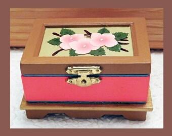 no.2, Wood Trinket Box, Hand Painted Box, Jewelry Holder, Keepsake Box, Wood Jewelry Box, Unique Gift, Jewelry Organizer, Floral Jewelry Box
