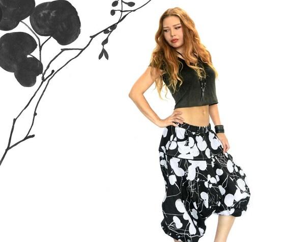 Drop Crotch Pants, Black Harem Pants Women, Aladdin Pants,  Black Pants, Gypsy Pants, Bohemian Clothing, Baggy Pants, Plus Size Pants