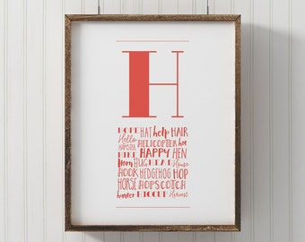 Letter nursery art, Monogram Letter H, printable letter art, Wall Art, Nursery Decor, printable H poster, kids room wall art, alphabet art