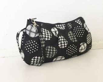 Pleated Wristlet Zipper Pouch // Clutch - Spotlight Large Patterned Dots Grey/Black