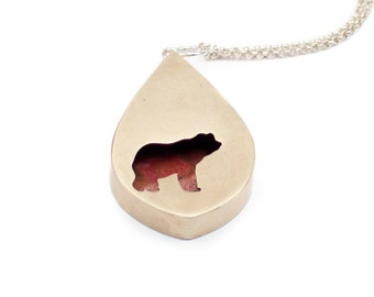Medium Bear Shadowbox Pendant Necklace in Brass with Sterling Silver Chain