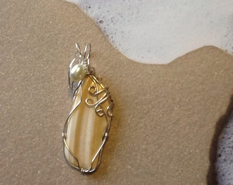 Under the boardwalk silver wire wrapped seashell pendant 19