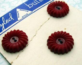 """Dark Red Vintage Buttons - Set of 5 - 21mm (13/16"""") Floral Plastic on Original Card (VB0002)"""