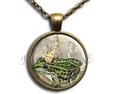 ON SALE - Frog the Prince - Round Glass Dome Pendant or with Necklace by IMCreations - FT103