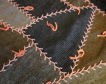 Crazy Quilt Piece |  Vintage Wool Cutter Quilt Piece |  Old Wool Quilt Piece | Antique Wool Quilt Piece | Wool Quilt Piece For Crafts