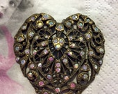 Banana Bob Vintage Jewelry Finding-OOAK Brass Ox Rhinestone Large Heart