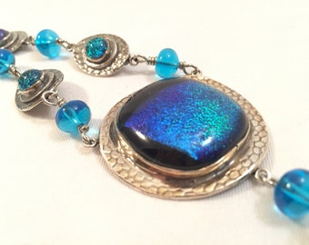 Mediterranean Breeze - Fine Silver and Glass Necklace