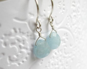 Simple small aquamarine gemstone earrings, aqua blue faceted briolettes on sterling silver (Chamberlin)