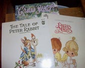 Three Counted Cross Stitch booklets--Tale of Peter Rabbit, Precious Moments and For the LOve of Cross Stitch MARCH 1993 1993