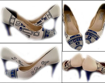 R2D2 Wedding Shoes, Home Coming, Prom, Star Wars, Hand Painted Shoes, SciFi, Geek, Wedding, Something Blue, Geek, Shoes Not Included