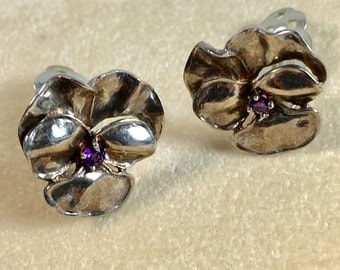 Sterling Silver and Amethyst Rhinestone Vintage Flower Clip Style Earrings - Vintage Museum of Fine Arts Sterling Silver Flower Earrings
