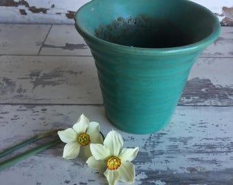 Vintage Bauer Pot Matte Blue Green Turquoise Pot - Small