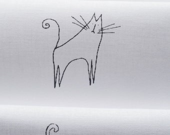Cat Designs - 3 different images - hand printed onto white cotton for embroidery, patchwork quilting, dress making
