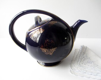 Vintage Hall Teapot Airflow Cobalt Blue Gold - Sleek Retro