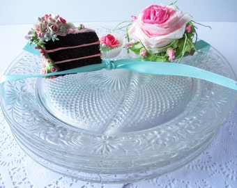 Vintage Indiana Glass Daisy Clear Grill Plates Set of Four