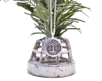 tree of life wax seal necklace … stand sure - flowering tree pendant - fine silver medieval wax seal jewelry
