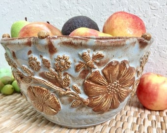 Large Ceramic Mixing Bowl - Stoneware Fruit Bowl - Handmade Pottery Bowl with Flowers and Bees - Blue Bowl
