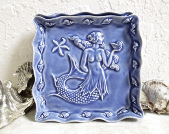Ceramic Mermaid Dish Blue Seashells and Starfish