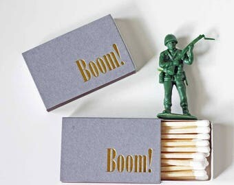 Gold Foil Matches - BOOM - Foil Stamped - Charcoal Gray Matches - Set of 3 - Hostess Gift - Party Favor