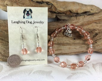 Pink Glass Bracelet and Earrings Set with Dog Charm
