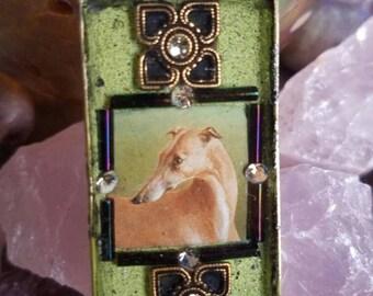 Tinyartjewelry's Greyhound Whippet OOAK pendant