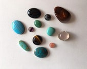 RESERVED FOR MEGAN-Thirteen Gemstone Cabochons