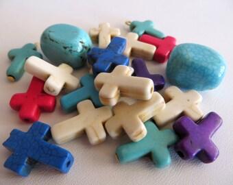 Howlite Cross & Nugget Beads, 20 Howlite Beads