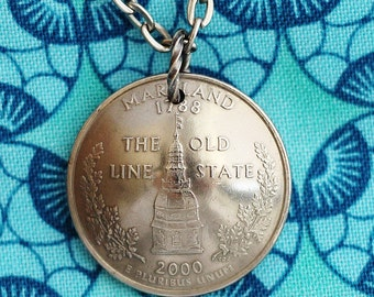 Maryland, Idaho, Illinois, Indiana, Kentucky, Maine State Quarter  Necklace, Domed Coin Necklace Pendant, by Hendywood