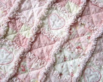 "Applique Baby Quilt, 29"" x 34"", Baby Rag Quilt, Heart Baby Blanket, Cottage Chic Decor, Pink Baby Bedding"