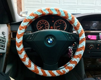 Medium Orange Chevron Steering Wheel Cover