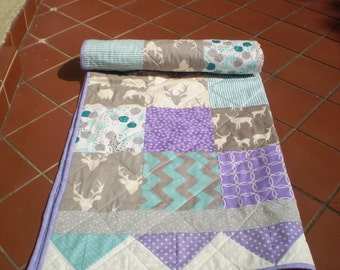 Handmade Baby Quilt, Teal, grey, purple, Baby quilt, Baby Girl Crib Bedding, Rustic,Woodland,Deer, Bear, Chevron, Toddler, Lilac Stag n Bear