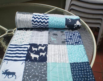 Handmade Baby quilt, crib quilt, baby boy or girl quilt bedding, woodland, arrow, grey, navy, teal, moose, deer, bear, toddler, Teal Woodsy