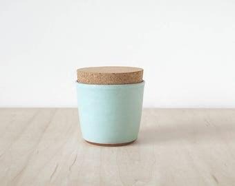 mini cork jar, seafoam.