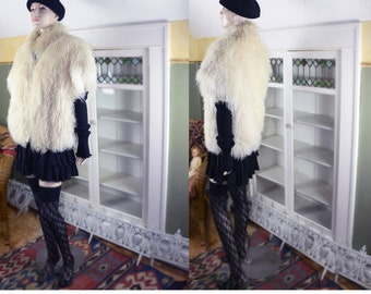 Vintage 80's Mongolian Fur coat, vest, boho fur vest, glam fur, club kid fur, long curly lamb, shaggy fur, ivory fur, oversize, plus size