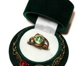 HAPPY HOLIDAYS SALE - Christmas Limited Edition - Green Steampunk Top Hat Single Ring Box and Chrysolite Swarovski Crystal Ring