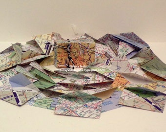 """25 Tiny Map Envelopes..1 1/4"""" x 1 7/8""""...Plain cards available...Variety pack...Made from old United States Map Papers...handmade"""