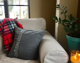 Gray flannel wool hand embroidery toss pillow