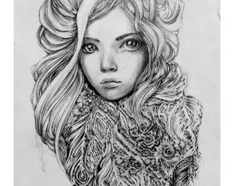 Original Pencil Drawing - Une nuit froide