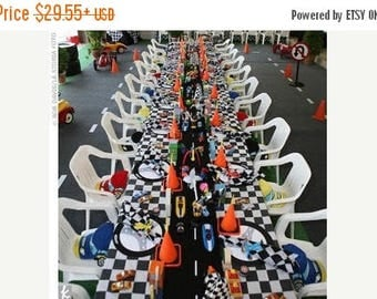ON SALE NOW Checkered Flag Tablecloth, black And white check, Racing decor Wedding, Bridal, Party, Shower