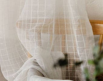 4625 - Off-White Plaid Soft Gauze Mesh Netting Lace Fabric - 110 Inch (Width) x 1/2 Yard (Length)