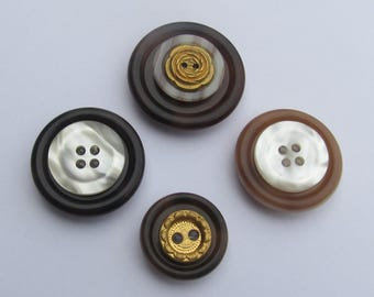 Stacked Button Magnets - Set of 4 - Gold and Pearl