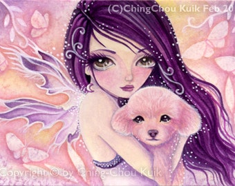 Little Poodle - Instant Download / Animal Dog Puppy Butterfly Leaf Fantasy Fairy Girl Art by Ching-Chou Kuik